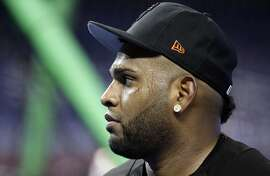San Francisco Giants third baseman Pablo Sandoval waits to hit during batting practice before a baseball game against the Miami Marlins, Tuesday, Aug. 15, 2017, in Miami. (AP Photo/Lynne Sladky)