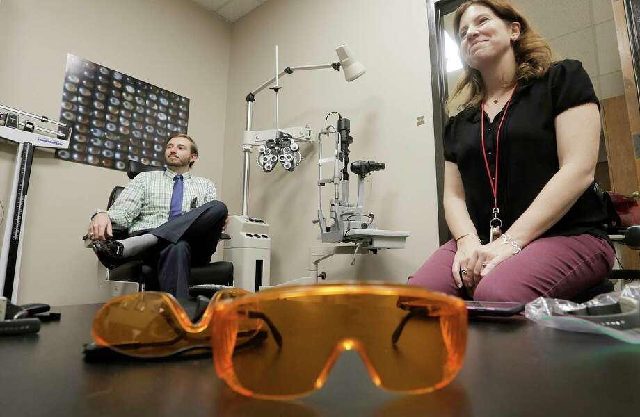 Researcher Lisa Ostrin, and her study co-author, Kaleb Abbott, published their research on the effects of blue LED light on sleep in the medical journal published by the College of Optometrists. Photo: Elizabeth Conley, Staff / © 2017 Houston Chronicle