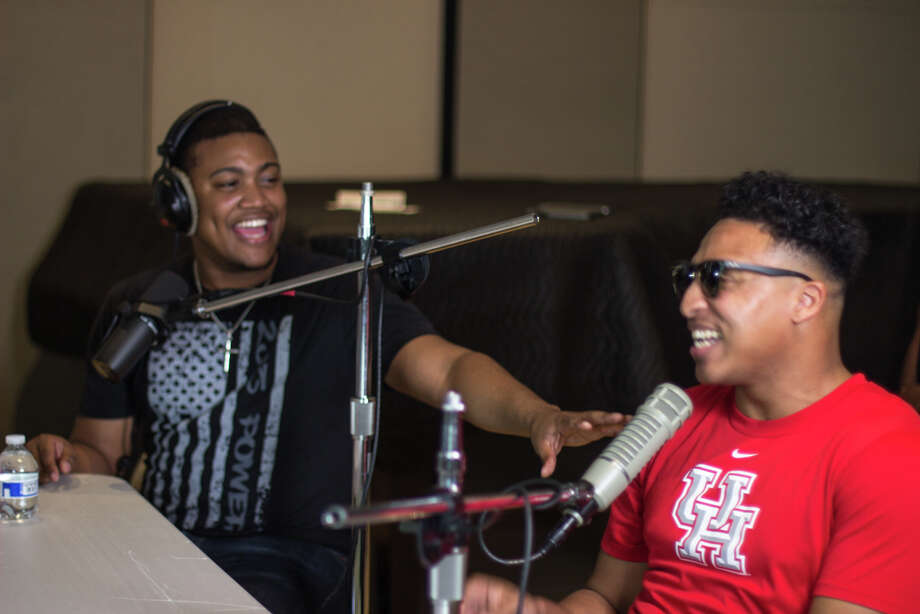 Christopher Below and Khalil Trent record their podcast The Roommates at a studio in The Heights. Photo: Jaio Photography