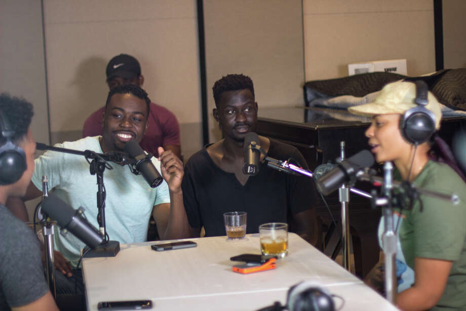 Sam Todo, Hafeez Baoku and Christopher Below record their podcast at a studio in The Heights. Photo: Jaio Photography