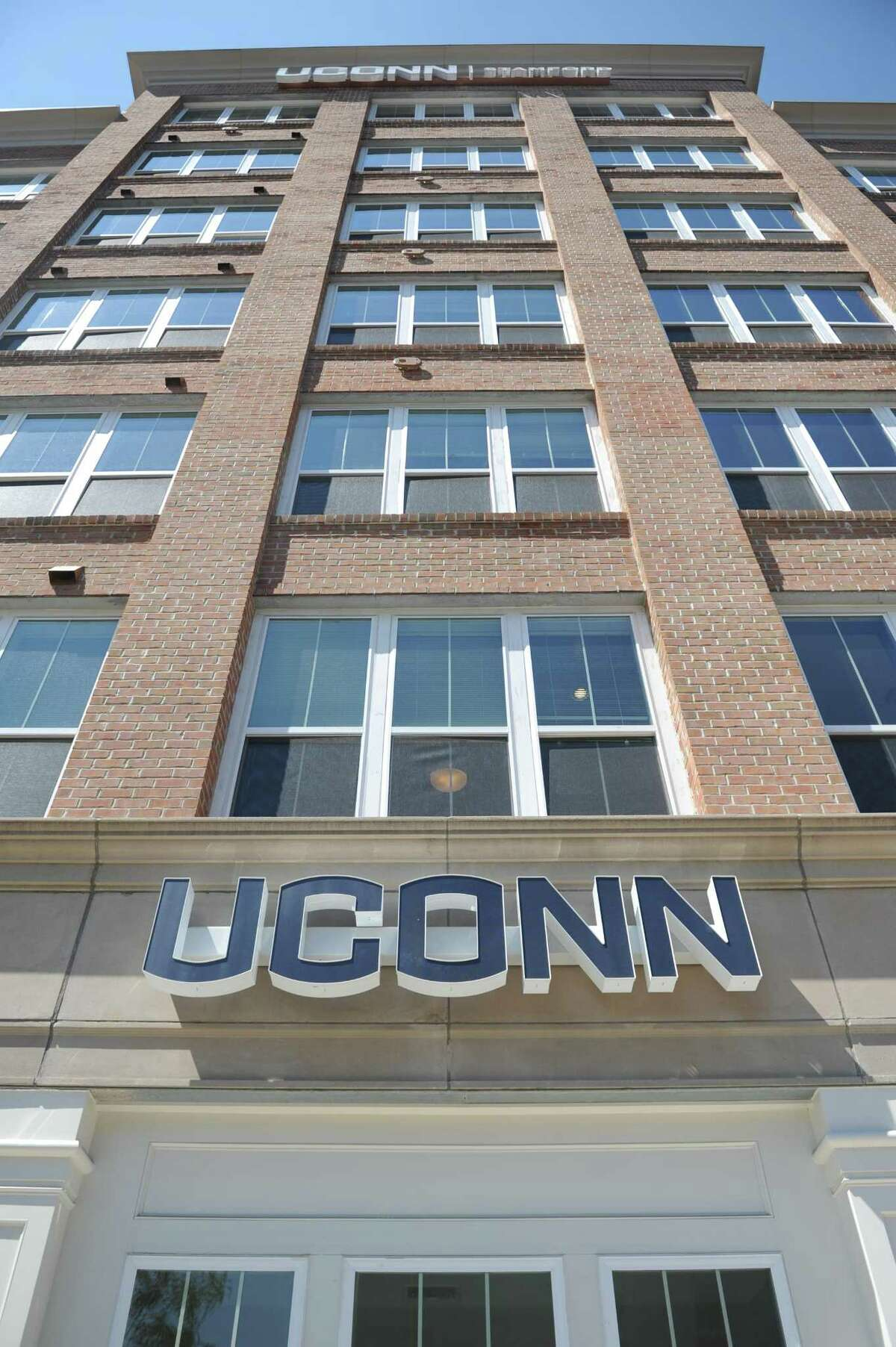 The new UConn Stamford dorm building in Stamford, Conn. Wednesday, Aug. 16, 2017. Gov. Dannel P. Malloy, UConn President Susan Herbst and others attended a grand opening and tour of the new residence hall, which will house nearly 300 students. The 116-unit building is located at 900 Washington Blvd., two blocks south of campus.