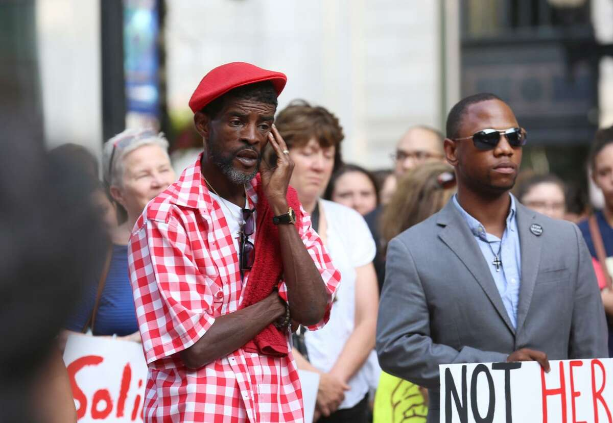 Ernie Newton joined the hundreds gathered at McLevy Green in Bridgeport, Conn. for a vigil on Sunday, August 13, 2017 in response to the tragic events that took place in Charlottesville, Virginia on Saturday.