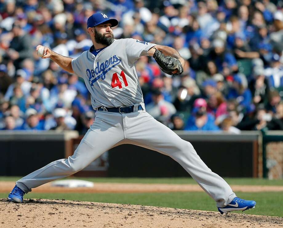 CHICAGO, IL - APRIL 13:  Chris Hatcher #41 of the Los Angeles Dodgers pitches against the Chicago Cubs during the seventh inning at Wrigley Field on April 13, 2017 in Chicago, Illinois. The Chicago Cubs won 4-0.  (Photo by Jon Durr/Getty Images) Photo: Jon Durr, Getty Images