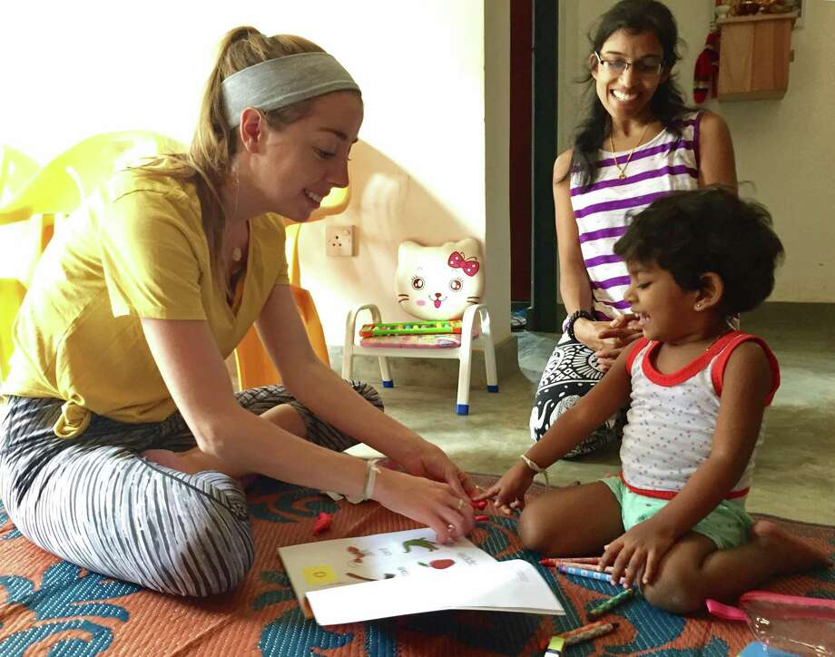 Stanwich School kindergarten teacher Paula Brock (left) taught English in Sri Lanka for two weeks in July and August. Photo: Contributed
