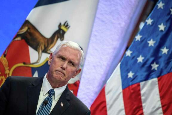 Us Vice President Mike Pence gestures during a joint press conference with Chilean President Michelle Bachelet at La Moneda presidential palace in Santiago, on August 16, 2017.  Pence arrives in Santiago to begin a two-day visit to Chile that is part of his first tour in Latin America. / AFP PHOTO / POOL / Martin BERNETTIMARTIN BERNETTI/AFP/Getty Images