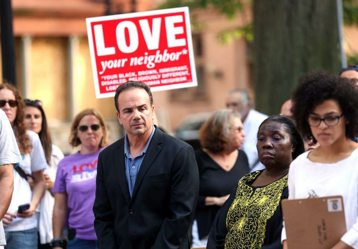 Mayor Joe Ganim joined the hundreds gathered at McLevy Green in Bridgeport, Conn. for a vigil on Sunday, August 13, 2017 in response to the tragic events that took place in Charlottesville, Virginia on Saturday.