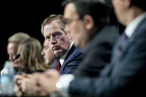 U.S. Trade Representative Bob Lighthizer, center, attends he first round of North American Free Trade Agreement renegotiations in Washington on Wednesday. MUST CREDIT: Andrew Harrer, Bloomberg.