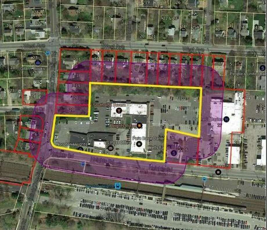 The area, inside the yellow, of the current Noroton Heights in which Noroton Heights Shopping Center, Inc., seeks to redevelop. Photo: Contributed Rendering