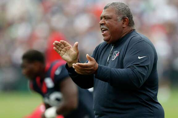 Houston Texans assistant head coach Romeo Crennel claps during a joint practice between the Texans and the New England Patriots at training camp at The Greenbrier on Wednesday, Aug. 16,  2017, in White Sulphur Springs, W.Va.