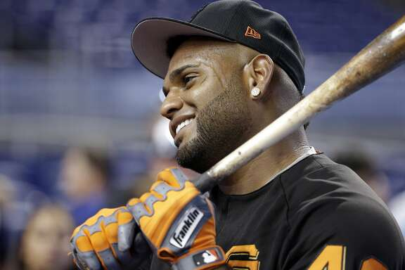 San Francisco Giants third baseman Pablo Sandoval stands on the field during batting practice before a baseball game against the Miami Marlins, Monday, Aug. 14, 2017, in Miami. (AP Photo/Lynne Sladky)