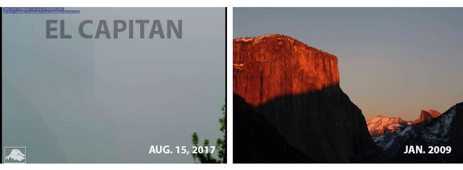 Views of El Capitan are compared in this image. The famous peak was barely visible on Tuesday because of smoke from a wildfire at Yosemite National Park. Photo: The Yosemite Conservancy, Getty Images