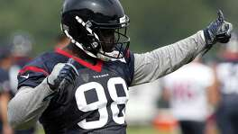 Houston Texans defensive end D.J. Reader gives a thumbs-up during training camp at The Greenbrier on July 27, 2017, in White Sulphur Springs, W.Va.