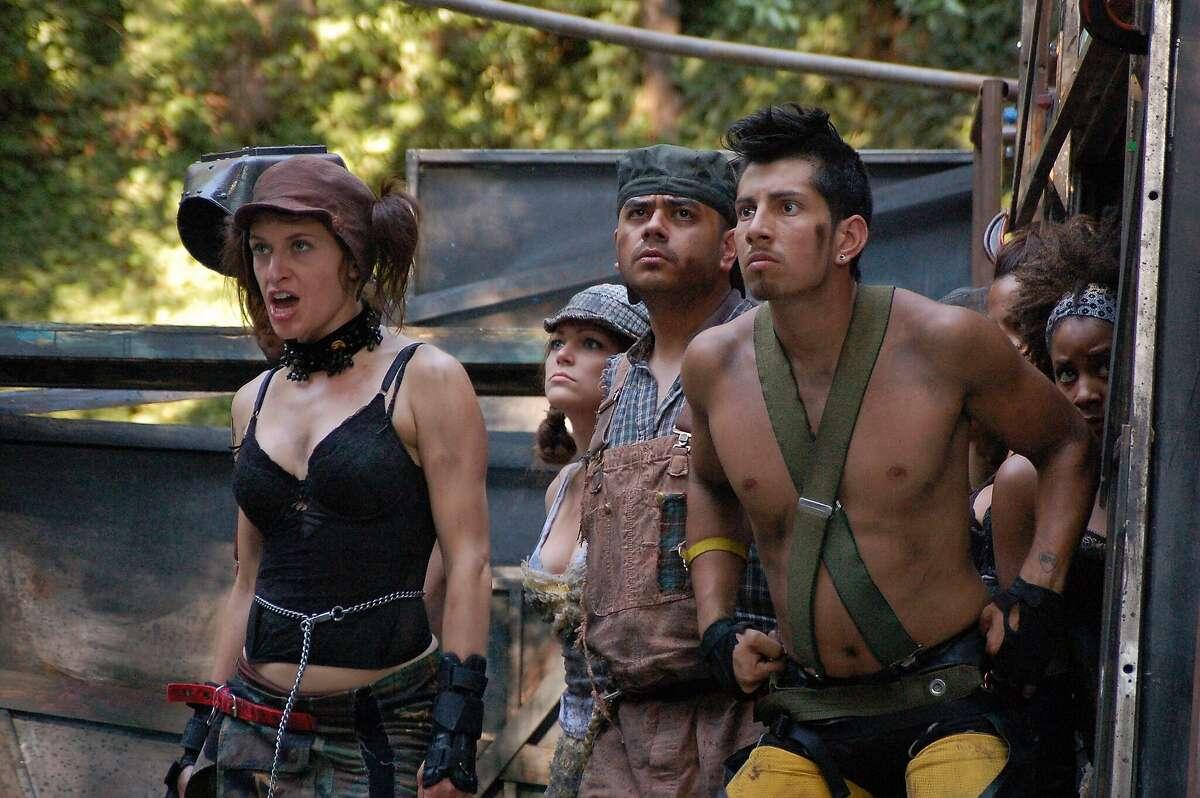 """From left: Sarah Mitchell, Nancy Baranski, Kristoffer Barerra, Roy Landaverde and Antonette Bracks in Shotgun Players' 2009 production of """"The Farm."""""""