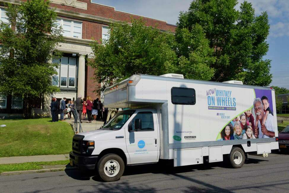 A view of the Whitney Young Health's mobile health unit at North Albany Academy on Wednesday, Aug. 16, 2017, in Albany, N.Y. A press event was held Wednesday to announce that Whitney Young Health's mobile health unit services will be offered to the students, teachers and families at the school. (Paul Buckowski / Times Union)