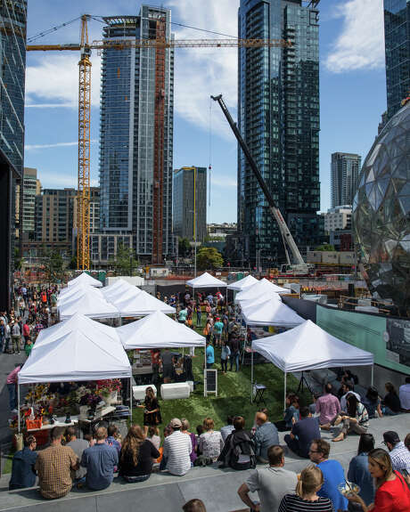 Amazon has changed a lot around Seattle's downtown. But can you really see all the ways?  Photo: GRANT HINDSLEY, SEATTLEPI.COM / SEATTLEPI.COM
