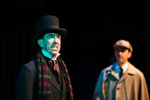 """From left:�Mick Mize as Merrick and Brady Morales-Woolery as Watson�in Shotgun Players' """"The (curious case of the) Watson Intelligence."""""""