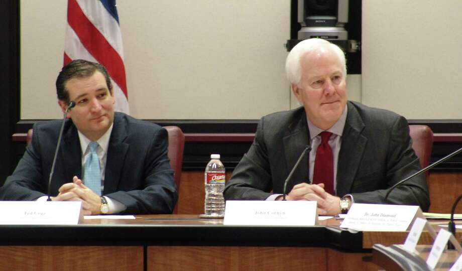 U.S. Senators John Cornyn and Ted Cruz, shown here speaking at Rice University earlier this month, should reconsider their ardor for free-market solutions to health care. Photo: JEFF NEWPHER /The Journal / The Journal
