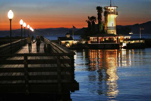 An overview of the floating restaurant, Forbes Island, looking towards Pier 41 in San Francisco, Calif., on Thursday, July 1, 2010.