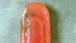 Rhubarb Lavender Sorrel Popsicle.