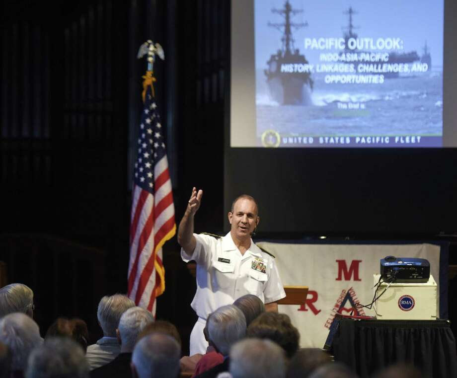 Rear Admiral John Weigold IV, Reserve Deputy Commander, U.S. Pacific Fleet, speaks during the Retired Men's Association weekly speaker series at First Presbyterian Church in Greenwich. Photo: Tyler Sizemore / Hearst Connecticut Media / Greenwich Time