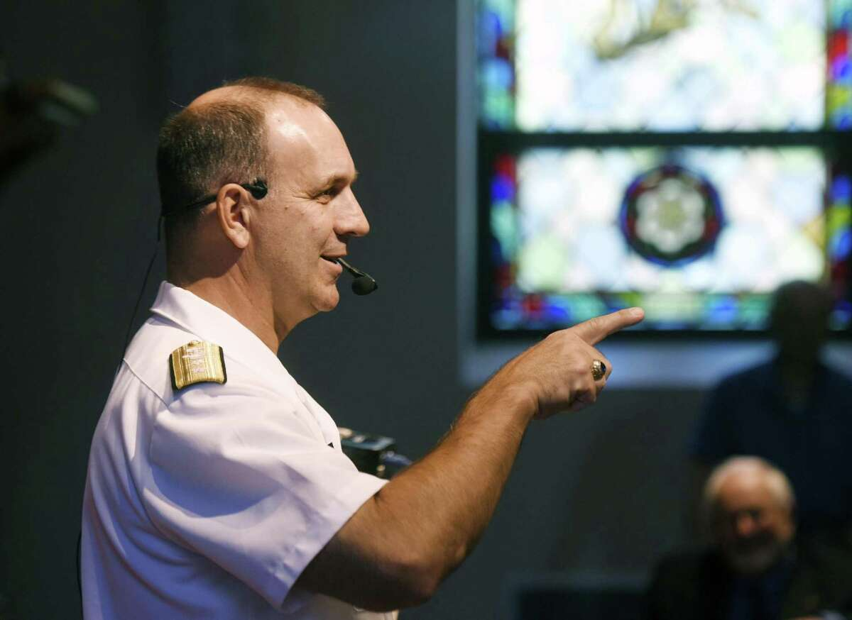 Rear Admiral John Weigold IV, Reserve Deputy Commander, U.S. Pacific Fleet, speaks during the Retired Men's Association weekly speaker series at First Presbyterian Church in Greenwich, Conn. Wednesday, Aug. 16, 2017. Admiral Wiegold spoke about the history and outlook of the Indo-Asia-Pacific region, including the rise of North Korea.