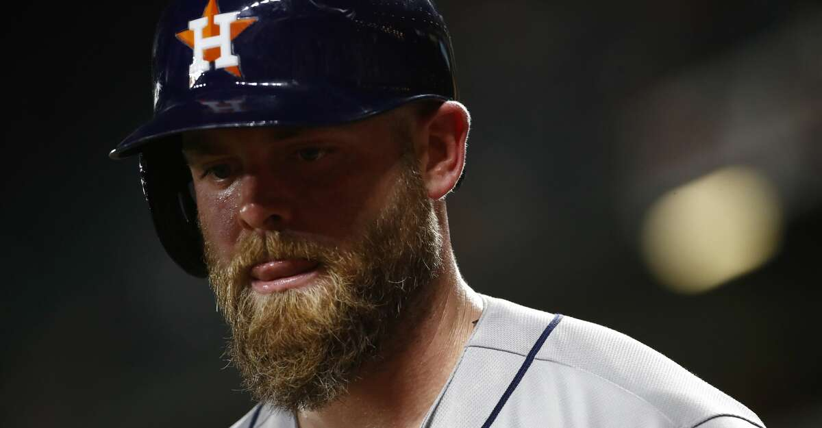 Houston Astros' Brian McCann prepares for an at-bat during a baseball game against the Baltimore Orioles in Baltimore, Friday, July 21, 2017. (AP Photo/Patrick Semansky)