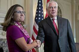 Rex Tillerson, U.S. secretary of State, right, shakes hands with Chrystia Freeland, Canada's minister of foreign affairs, while meeting at the State Department in Washington, D.C., U.S., on Wednesday, Aug. 16, 2017. Starting today the first round of North American Free Trade Agreement (NAFTA) renegotiations began with Canada and Mexico largely wanting to defend the advantages they have enjoyed under the two-decade-old Nafta deal, keep it free of tariffs and broaden it to new industries. President Donald Trump has called Nafta the worst trade pact in history and promised to fix it through negotiations or withdraw. Photographer: Andrew Harrer/Bloomberg