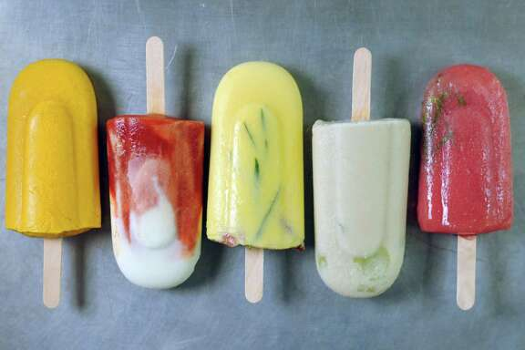 Popsicles, from left: Curried Sweet Potato, Tomato Goat Cheese, Buttermilk Cornbread, Almond Gazpacho, Rhubarb Lavender Sorrel.
