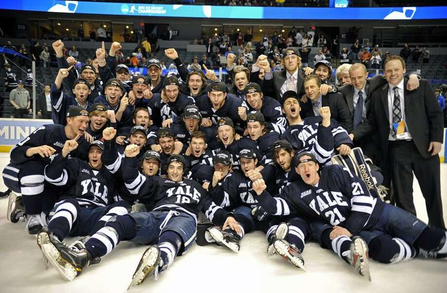 Yale celebrates after its win over North Dakota on Saturday. (Photo courtesy of Yale Athletics) / ANDRIS VISOCKIS   PHOTOGRAPHY
