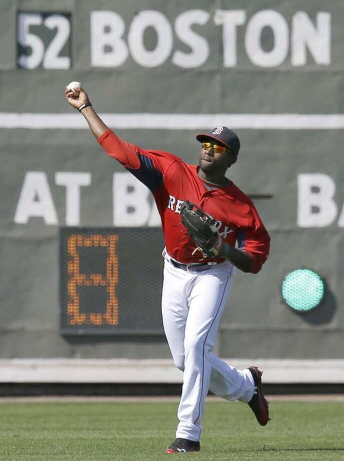 Boston Red Sox outfielder Jackie Bradley Jr. throws the ball in during an exhibition spring training baseball game against the Minnesota Twins in Fort Myers, Fla., Saturday, March 30, 2013. (AP Photo/Elise Amendola) Photo: AP / AP2013