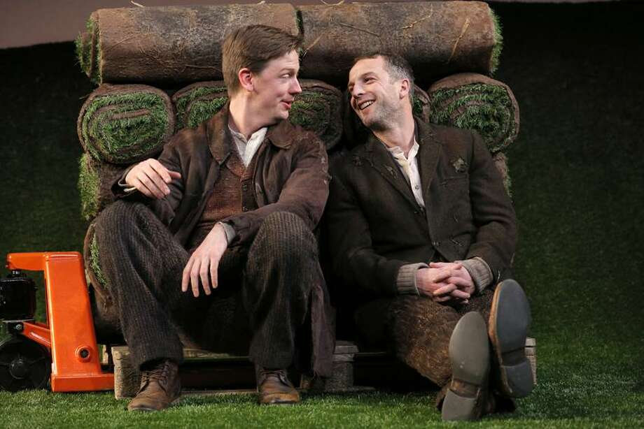 "Joan Marcus photo: Fred Arsenault, left and Euan Morton play a village of characters in Yale Rep's ""Stones in His Pockets,"" running through Feb. 16."