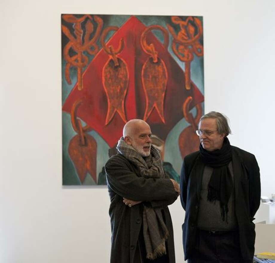 "Sandra Burns, March 2013 photo: Yale School of Art Dean Robert Storr, right, says that artists like Francesco Clemente, whose ""Clemente > Brazil > Yale"" exhibit opens at the school's 32 Edgewood Gallery, are his most valuable teaching tools. Behind them is Clemente's ""Father."""