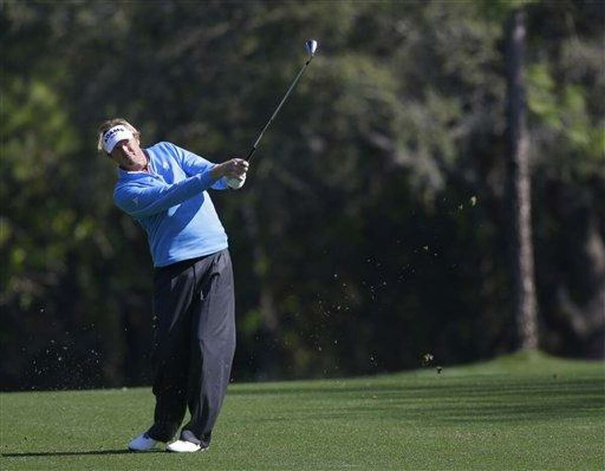 Tim Petrovic hits from the fairway on the seventh hole during the second round of the Tampa Bay Championship golf tournament Friday, March 15, 2013, in Palm Harbor, Fla. (AP Photo/Chris O'Meara)