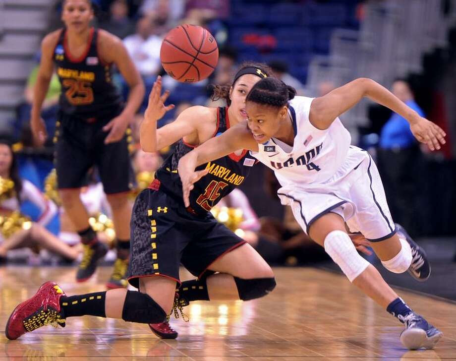 Moriah Jefferson of the University of Connecticut steals the ball against Chloe Pavlech of the University of Maryland during the second half of the NCAA Tournament Regional Semifinals Saturday, March 20, 2012 at the Webster Bank Arena in Bridgeport Connecticut.  Photo by Peter Hvizdak / New Haven Register. Photo: New Haven Register / ©Peter Hvizdak /  New Haven Register