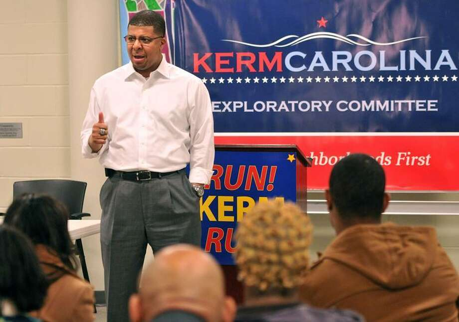 """New Haven-- Kermit Carolina speaks during a exploratory committee event. Supporters of Carolina, the popular Hillhouse High principal, are hoping he will run for mayor. The event was held at the Miller Library in New Haven.  Photo-Peter Casolino/Register <a href=""""mailto:pcasolino@newhavenregister.com"""">pcasolino@newhavenregister.com</a>"""