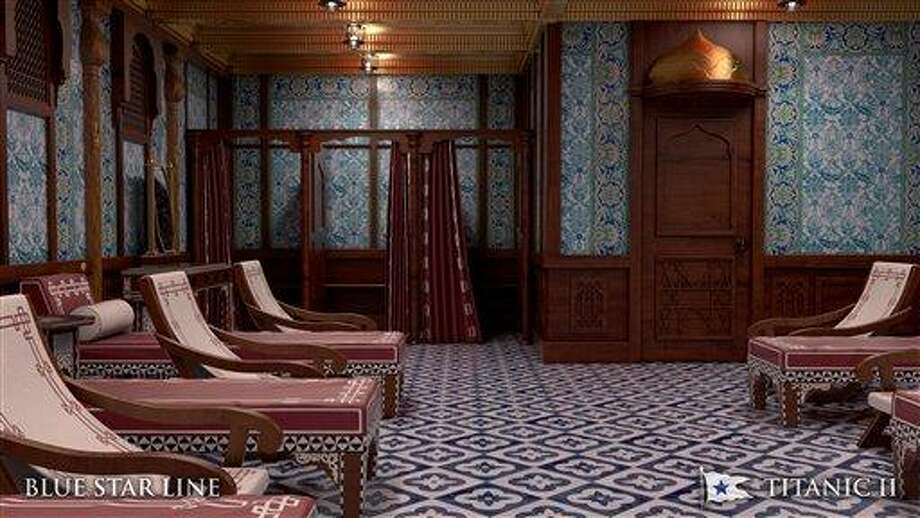 In this rendering provided by Blue Star Line, the Turkish bath on the Titanic II is shown. The ship, which Australian billionaire Clive Palmer is planning to build in China, is scheduled to sail in 2016. Palmer said his ambitious plans to launch a copy of the Titanic and sail her across the Atlantic would be a tribute to those who built and backed the original. (AP Photo/Blue Star Line) Photo: AP / Blue Star Line