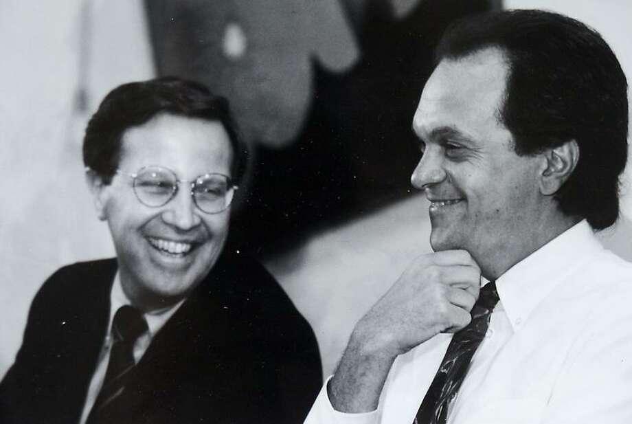 Yale President Richard Levin, left, and Mayor-elect John DeStefano Jr. in December 1993. Douglas Healey/for the Register