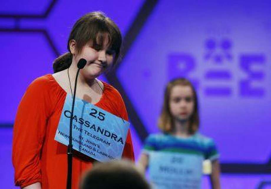 Canadian student Cassandra Clowe-Coish of St. John's, closes her eyes after she spells correctly during the 2013 Scripps National Spelling Bee at the Gaylord National Resort and Convention Center at National Harbor in Maryland, May 29, 2013. (Larry Downing/Reuters) Photo: REUTERS / X00961