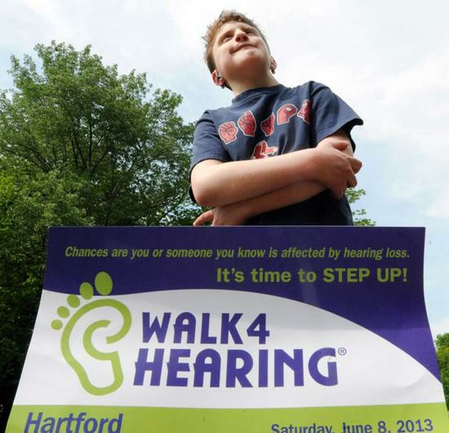 "Alex Steinbrick of Seymour, 15, is  coordinating a fund-raising ""Walk 4 Hearing""  June 8 in Hartford. Alex is a member of Hear Here Hartford, a chapter of the Hearing Loss Association of America. May 29, 2013  Photo by Peter Hvizdak / New Haven Register Photo: New Haven Register / ©Peter Hvizdak /  New Haven Register"