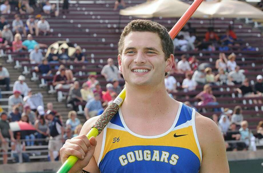 Catherine Avalone/The Middletown PressHaddam-Killingworth senior Pat Dougherty heaved a 162-foot 10-inch in Wednesday's Class M Track & Field Championship in winning the state title in javelin at Willowbrook Park in New Britain. / TheMiddletownPress