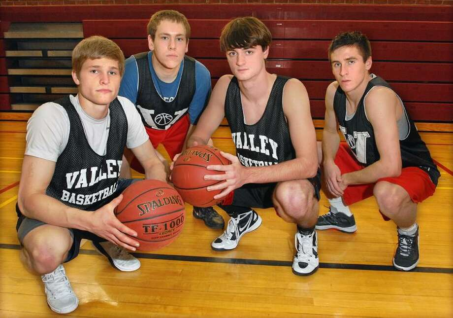 Valley Regional captains, from left, Jon Luster, Sten Spinella, Chris Connor and Mason King have the Warriors undefeated in Shoreline Conference play this season. (Catherine Avalone/Middletown Press)