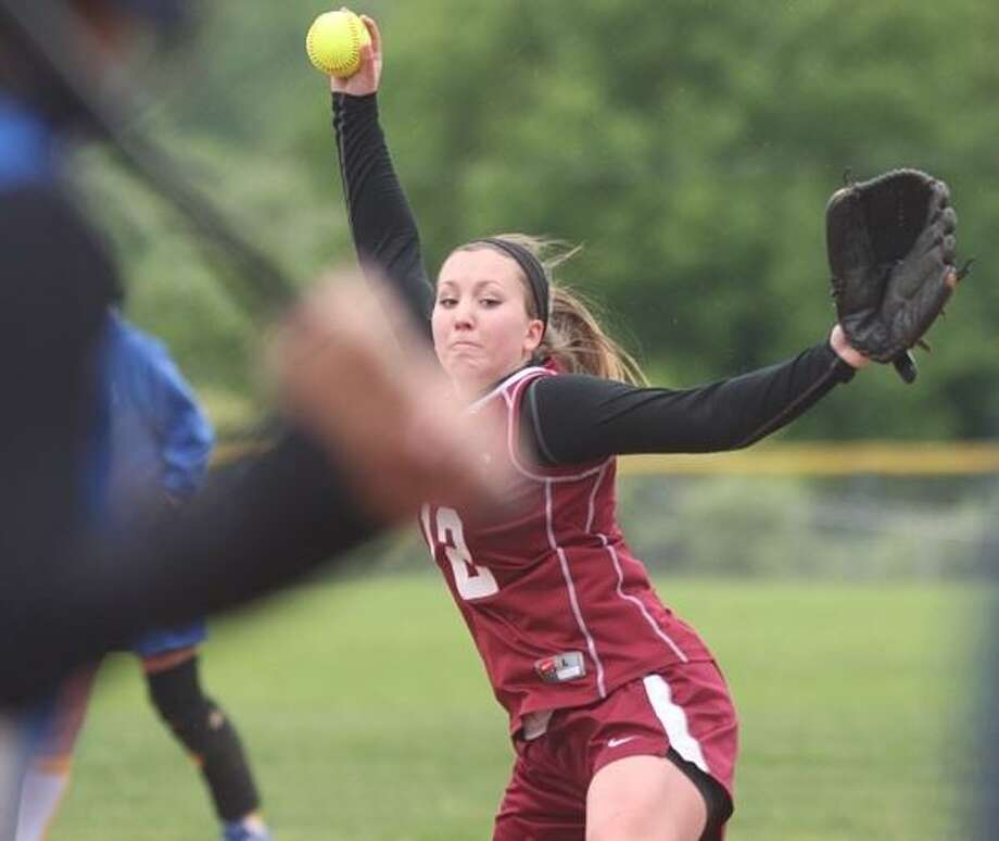 PHOTO BY JOHN HAEGER @ONEIDAPHOTO ON TWITTER/ONEIDA DAILY DISPATCH Stockbridge Valley's Justiss Usborne delivers a pitch to a Madison batter in the top of the fifth inning of their Class D playoff game on Saturday, May 25, 2013 in Munnsville. The Cougars won 10-2 to advance to the semifinal.