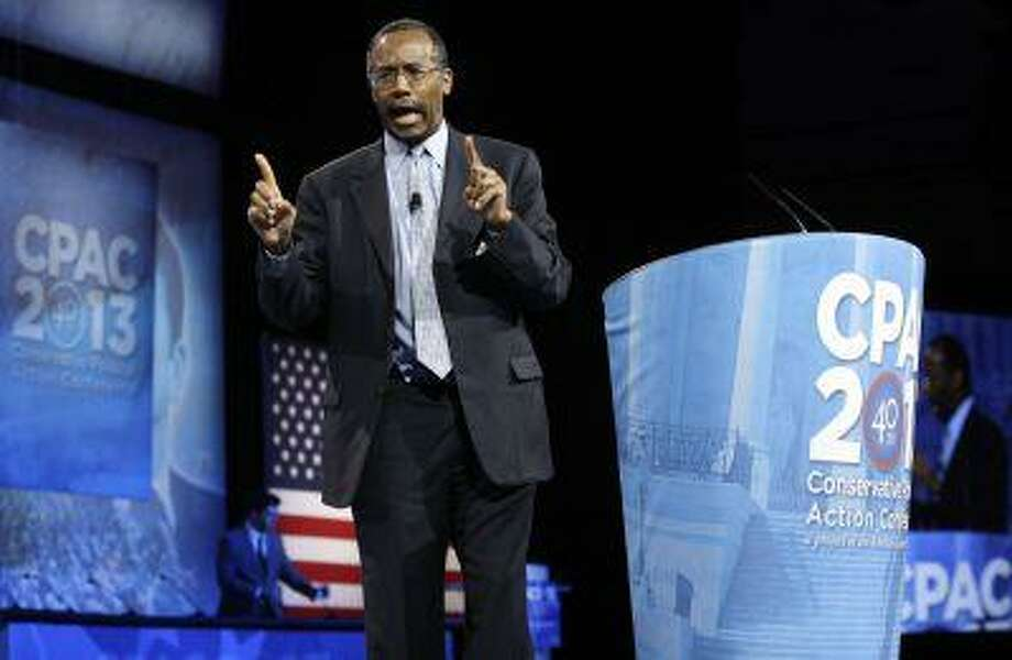 Dr. Benjamin Carson, director of Pediatric Neurosurgery at Johns Hopkins School of Medicine, delivers remarks March 16 to the Conservative Political Action Conference in National Harbor, Md. Photo: REUTERS / X01676