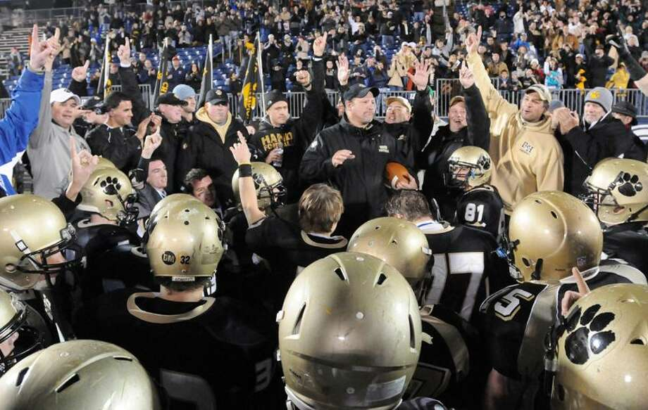 If coach Steve Filippone and Hand repeat as state champions next season, it may come at Central Connecticut State's Arute Field, and not at Rentschler Field in East Hartford. (Peter Hvizdak/Register) Photo: New Haven Register / ©Peter Hvizdak /  New Haven Register