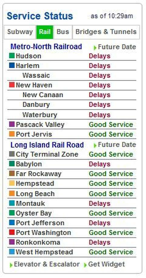 This screen grab taken off the Metro-North website shows delays due to cold weather as of 10:29 a.m.