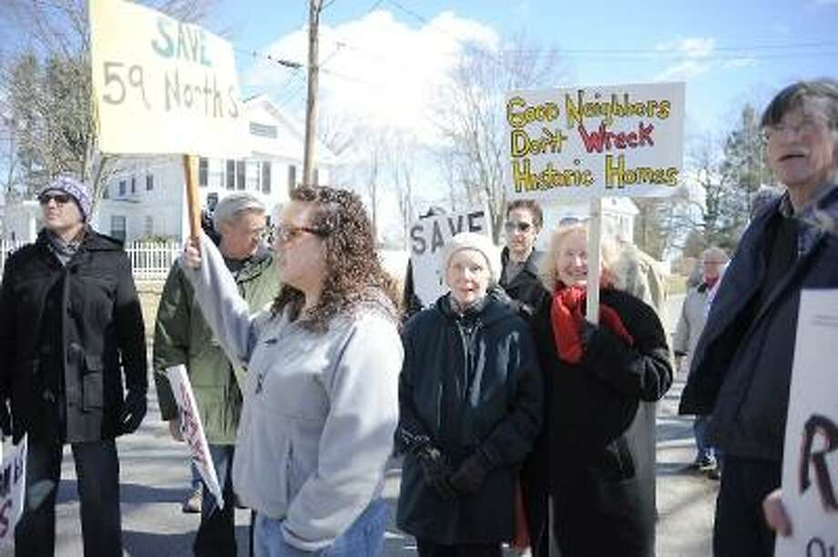 Laurie Gaboardi  Protesters at the 59 North Street home that Taft School in Watertown wants to raze.