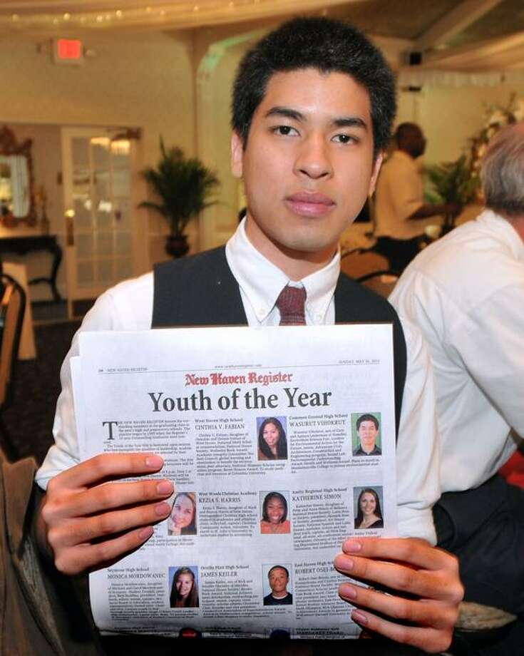 """New Haven--Common Ground High (New Haven) senior Wasurut Vihokrut during the New Haven Register Youth of the Year banquet. Photo-Peter Casolino/Register <a href=""""mailto:pcasolino@newhavenregister.com"""">pcasolino@newhavenregister.com</a>"""