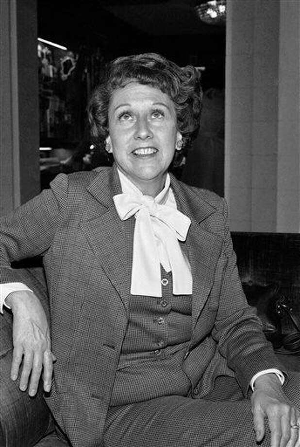 """FILE - Actress Jean Stapleton speaks during an interview in Washington on Wednesday, March 3, 1977, saying she will increase speaking out to the """"Edith Bunkers"""" of the land to try and muster support for the Equal Rights Amendment. Stapleton, who played Edith Bunker in the groundbreaking 1970s TV comedy """"All in the Family,"""" has died. She was 90. John Putch said Saturday, June 1, 2013 that his mother died Friday, May 31, 2013 of natural causes at her New York City home surrounded by friends and family. (AP Photo/Jeff Taylor) Photo: AP / AP"""