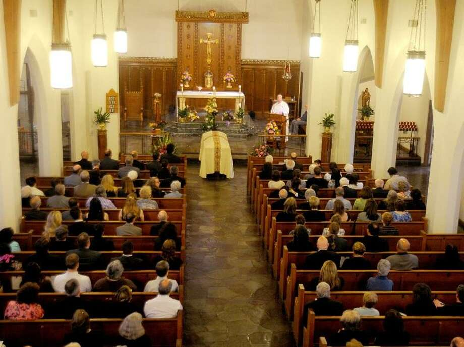 DeMatteo's funeral service at Church of the Blessed Sacrement, Hamden, on Wednesday. Darren Yip/Register