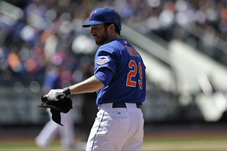 New York Mets Ike Davis is on first base in a baseball game against the Washington Nationals at Citi Field in New York, Sunday, April 21, 2013. (AP Photo/Kathy Willens) Photo: AP / AP